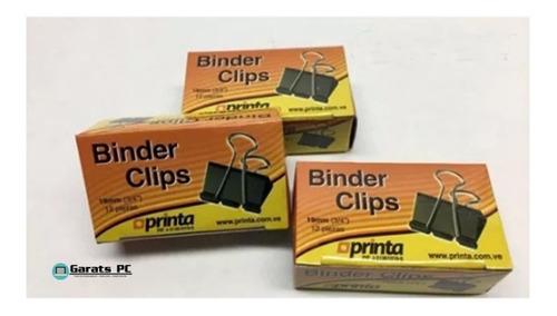 Clips Binder Mordaza 19mm (3/4 ) Caja De 12 Piezas X10unid