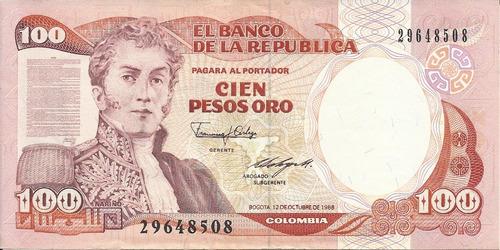 Colombia  100 Pesos Oro 12 Octubre 1988