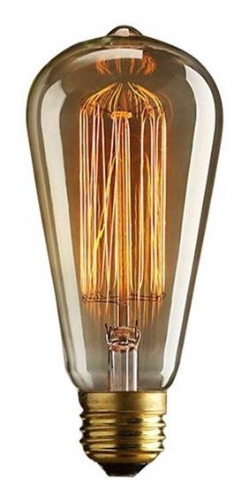 Lâmpada Filamento Carbono Vintage St64 40w 2200k 220v Dimer