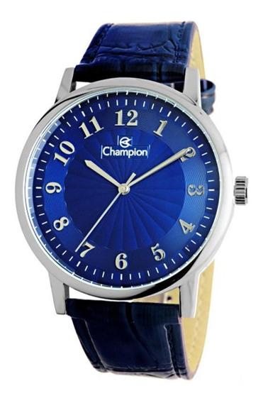 Relógio Champion Com Pulseira De Couro Azul Cn20560f