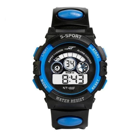 Relógio Pulso Digital Led Infantil Masculino Azul -promoção