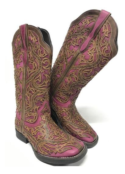 Bota Texana Feminina Country Vimar Rosa E Marrom Promoção
