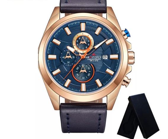 Relógio Masculino Armiforce Af8006 Couro Resist. A Água Data