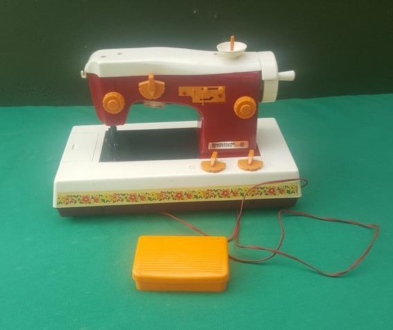 Estrela Antiga Mini Maquina De Costura Vermelha Funcionando