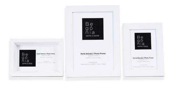Kit 3 Porta-retrato Mesa Premium 2-10x15cm 1-15x21cm Begônia