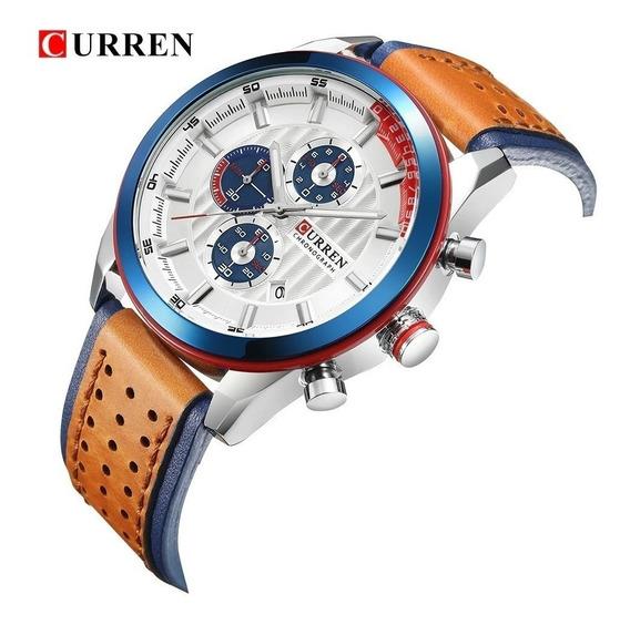 Relógio Esporte Luxo Curren 8292 Original Couro