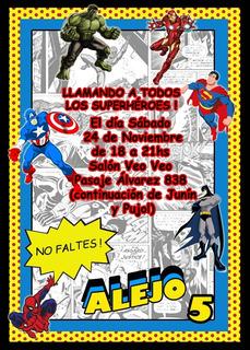 Invitacion Cumpleaños Comics En Mercado Libre Argentina