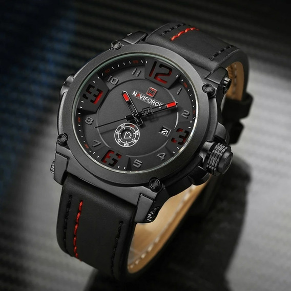 Relógio Masculino Naviforce Original Militar Analógico Couro Garantia