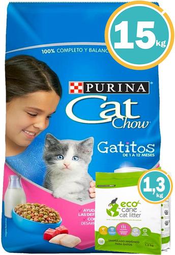 Comida Cat Chow Gatitos 15 Kg + Comedero Doble + Envió