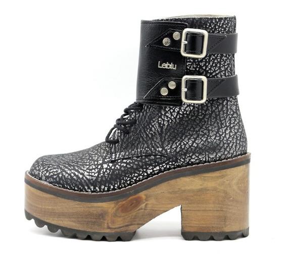 Zapatos Botas Botinetas Borcegos Mujer Negro Leblu 296