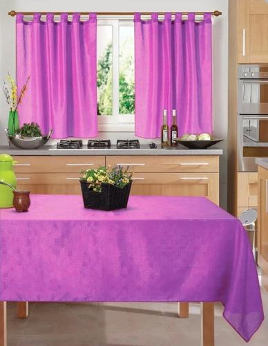 Imagen 1 de 7 de Set De Cortina Cocina 2 Paños + Mantel  Económico