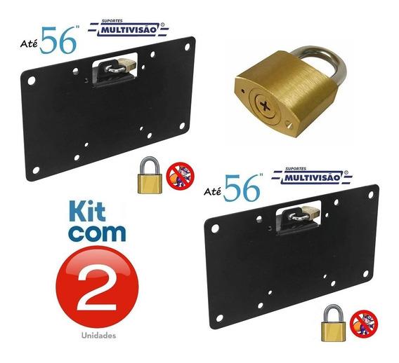 Kit 2 Suportes C/ Trava Antifurto P/ Tvs 14 A 56