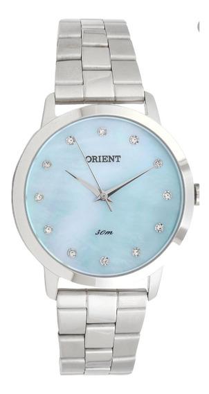 Relogio Original Orient Feminino Prata E Azul Fbss0071-a1sx