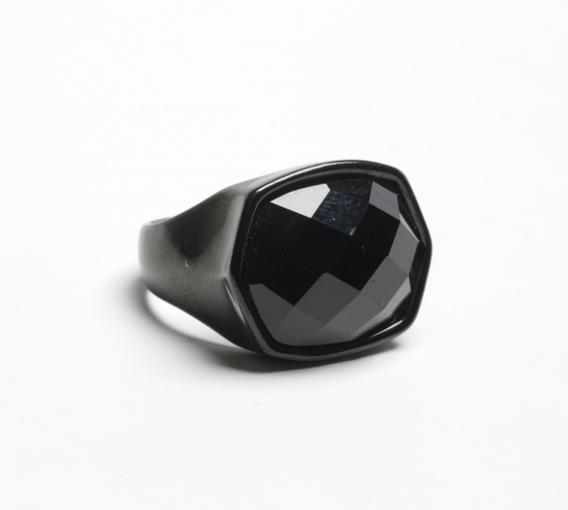Anel Masculino Preto Com Pedra Preta Em Aço Inoxidável