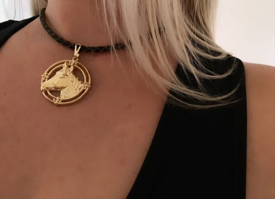 Colar Country Horse Cavalo Chocker Couro Western Joia
