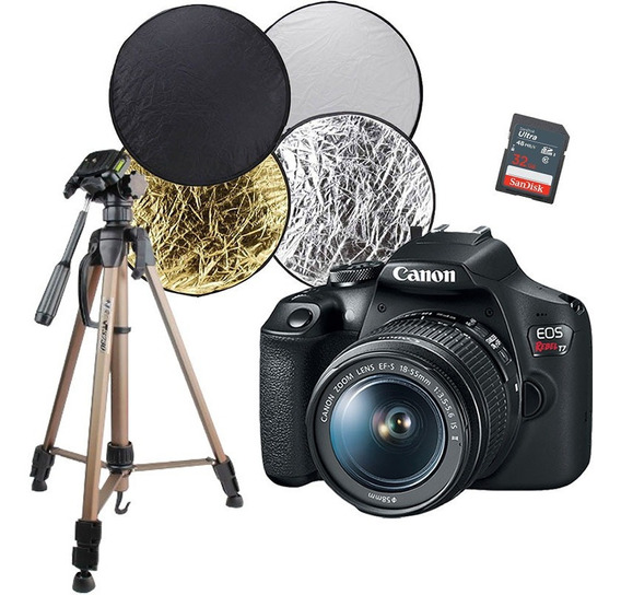 Câmera Canon T7 + Cartão 32 + Tripé Fotográfico + Rebatedor