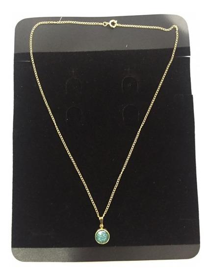Colar 43 Cm Feminina C/ Pingente Pedra Verde Ou Azul
