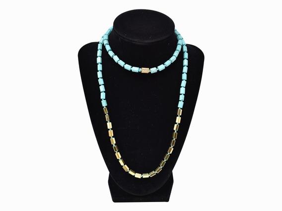 Collar Michael Kors Turquesa Y Oro 30
