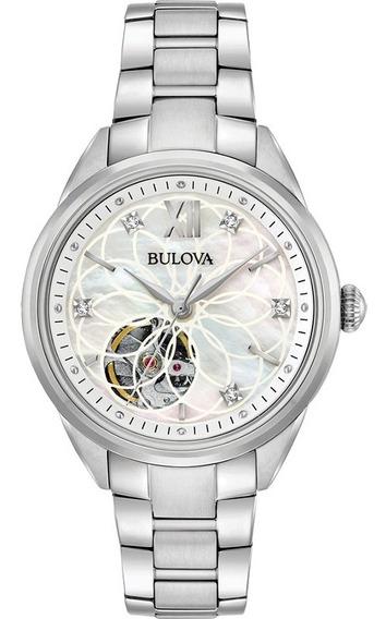 Bulova Diamond Open Heart Automático Original 96p181