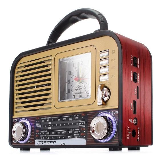Rádio Retro Recarregável Bluetooth Am/fm Usb C/ Despertador