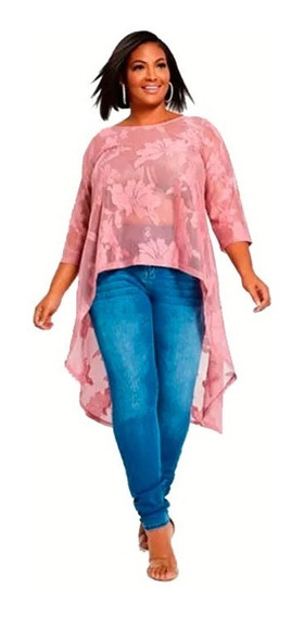 Remera Blusa Irregular Encaje Rosa Viejo Ashley Stewart 3x