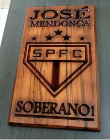 Quadro Personalizado Escudo Time Do São Paulo Em Madeira