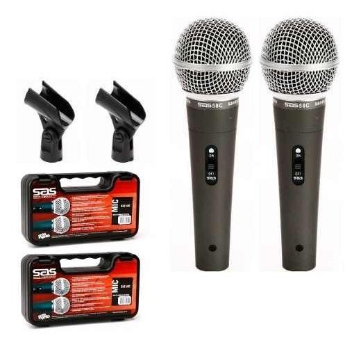 2 Microfones Santo Angelo Sas 58c Maleta Cachimbo Sm 58