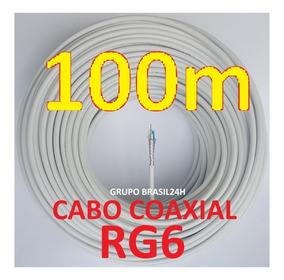Cabo Coaxial Rg6 Malha 80% Rolo 100m Branco Rg06 Multitoc