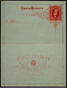 Brasil 1884 Carta Bilhete 50rs Vermelho Papel Azulesverdeado