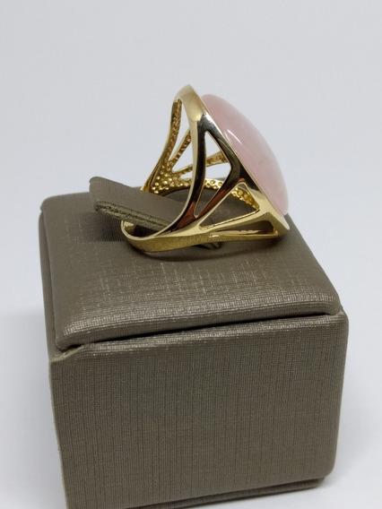 Anel Feminino Folheado Ouro 18k Quartzo Rosa Oval Grande 360