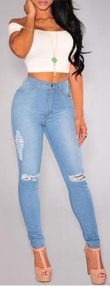 Calça Jeans Feminina Rasgada Joelho Cintura Alta Miami Dins
