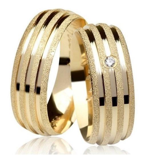 Par Alianças 10 Grs Ouro 18k 7mm Com Diamante Casamento