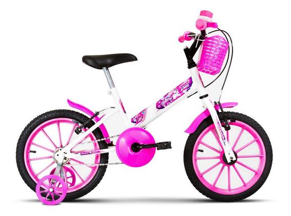 Bicicleta Infantil Menina Ultra Kids T Aro 16 Pro Tork Branco E Rosa