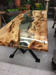 Resina Epoxi Cristal Baixa: Mesa Madeira River Table 2,84 Kg