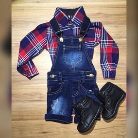 Camisa Xadrez Flanelada Jardineira Jeans Tênis New Prince