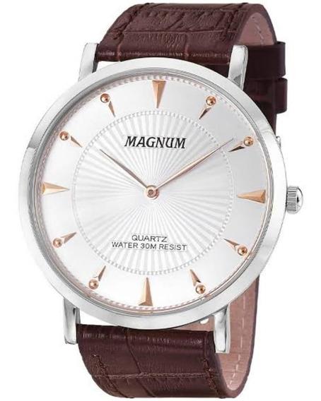 Relógio Magnum Social Slim Puls. De Couro Ma21900q Lindo