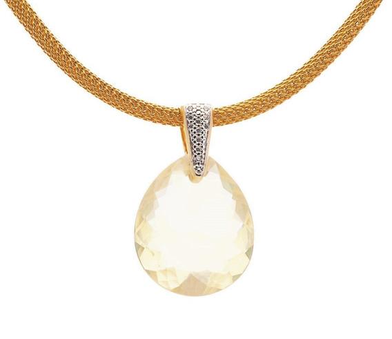 Colar Quartzo Pedra Natural Folheado Ouro 18k