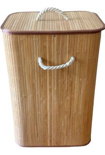 Cesto De Ropa Bambú 72l Funda Incluida Ecologico Reforzado