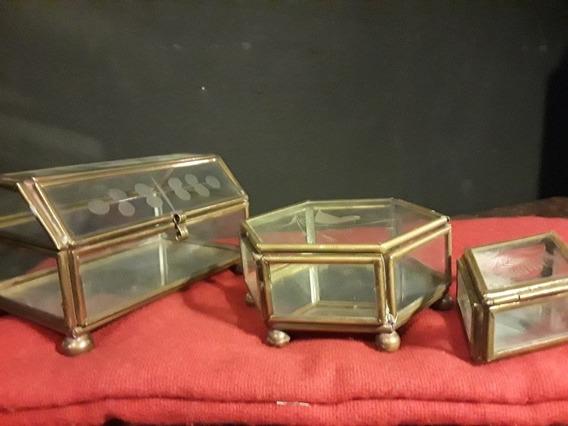 Tres Alhajeros De Cristal Esmerilado Y Latón