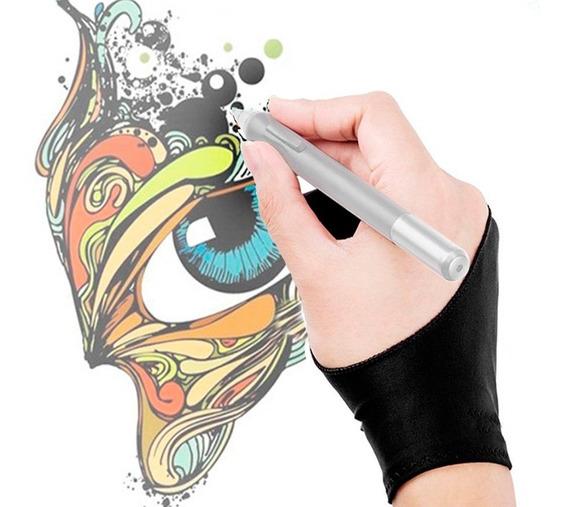Luva De Desenho Tablet iPad Telas Wacom Sketch Dois Dedos