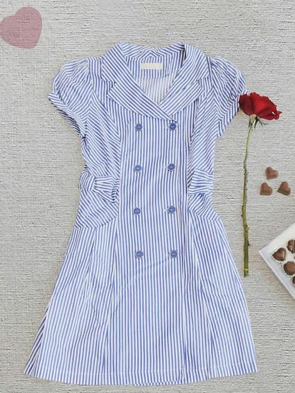 Vestido De Rayon Lineas Azul Y Blanco Rosado Y Blanco