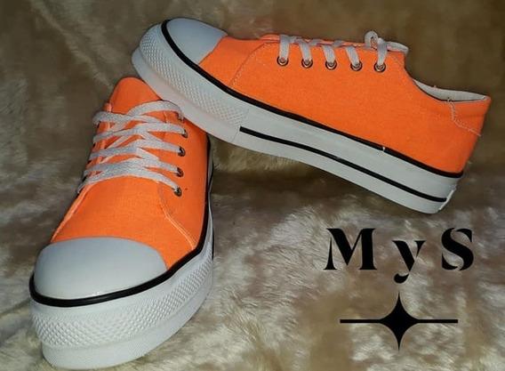 Zapatillas Con Plataforma Naranja Fluor