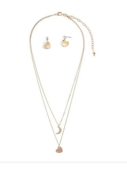 Collar 3 Niveles Marca Nice Baño De Oro 18 K