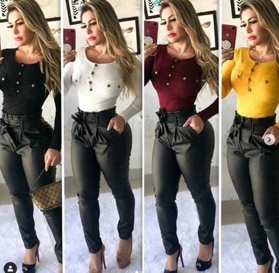 Calça Pantacourt Feminina Body Tecido Canelado Lindo