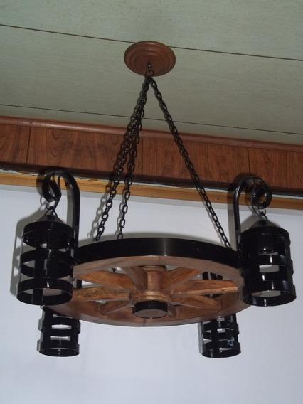 Pendente Em Roda De Carroça Rustico Madeira Maciça 50cm