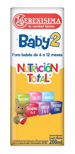 Leche de fórmula líquida Mastellone Hnos La Serenísima Baby 2 en brick 200mL por 30 u