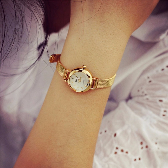 Relógio Barato Analógico Dourado Feminino Pronta Entrega