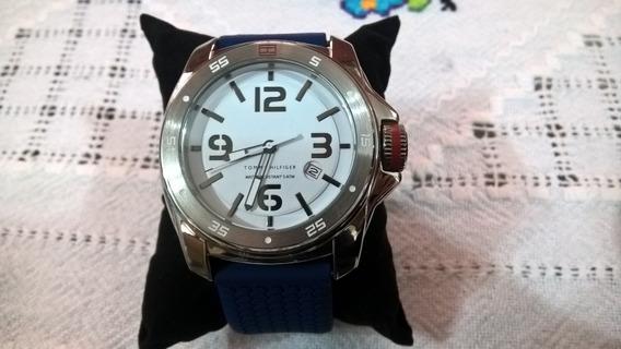 Relógio Tommy Hilfiger Fundo Branco Pulseira Silicone Azul