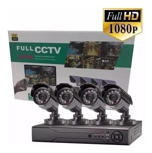 Kit Seguridad Cctv Dvr 4ch Full Hd 1080p 4 Camaras Hd P2p