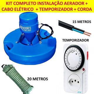 Aerador Chafariz Piscicultura 0,5cv +kit Cabo Pp+corda+timer